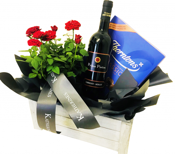 Luxury Red/White/Rose Flowers and Wine Hamper