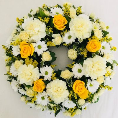 Classic Rose Funeral Wreath - Yellow and Cream
