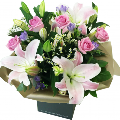 Pretty Rose, Lily & Freesia Hand-Tied Flowers Bouquet