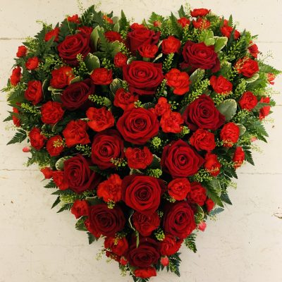 Red Rose and Carnation Heart Flowers