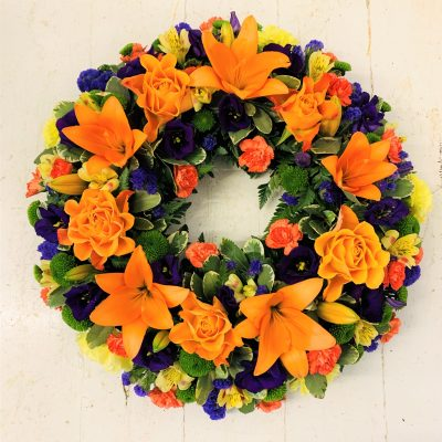Rose and Lily Funeral Wreath - Vibrant