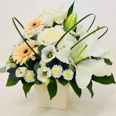 Graceful Cream Flowers Arrangement