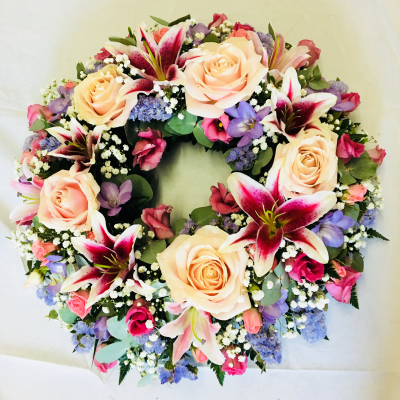 Rose and Lily Funeral Wreath - Pink and Lilac