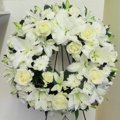 White Standing Easel Funeral Wreath