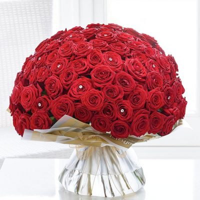 Wow! 200 Freedom Red Rose Hand-Tie Flowers Bouquet