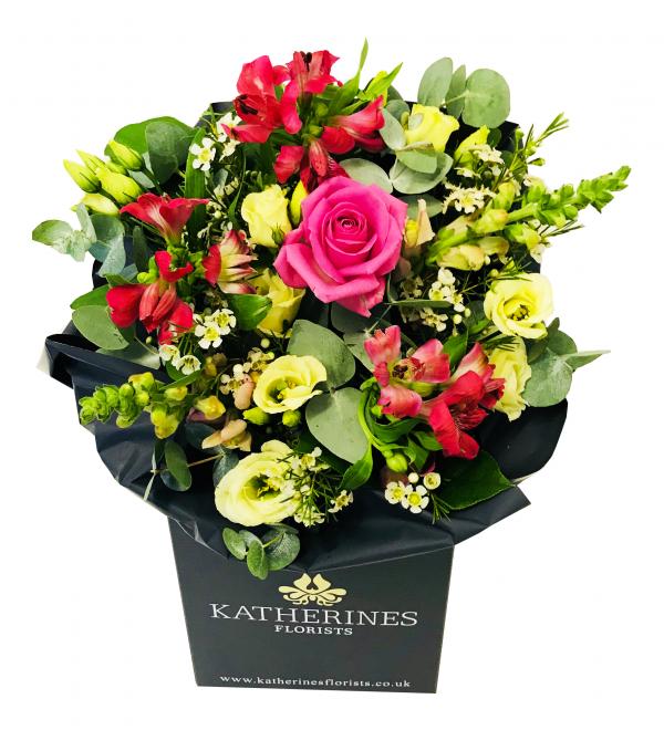 Ravishing rose and cerise alstroemeria hand-tie Flowers Bouquet