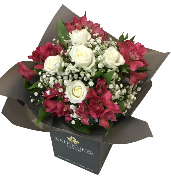 White Chic Roses and Pink Alstroemeria Flowers Bouquet