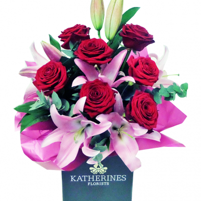 Romantic Red Roses and Oriental Lilies