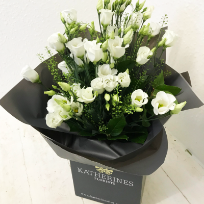 Wonderfully White Lisianthus Flowers Bouquet