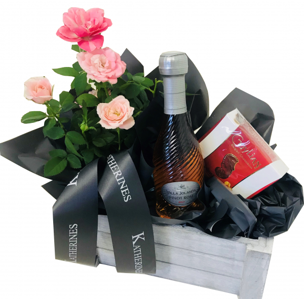 Pink Rose Flowers and Mini Prosecco Hamper