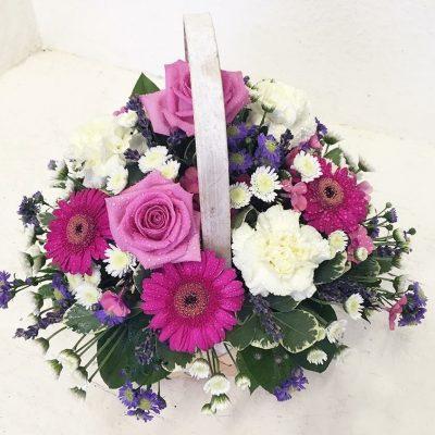 Pretty Pink Flowers Basket