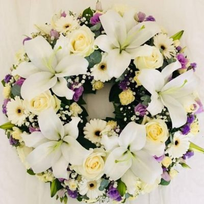 Rose and Lily Funeral Wreath - White & Lilac