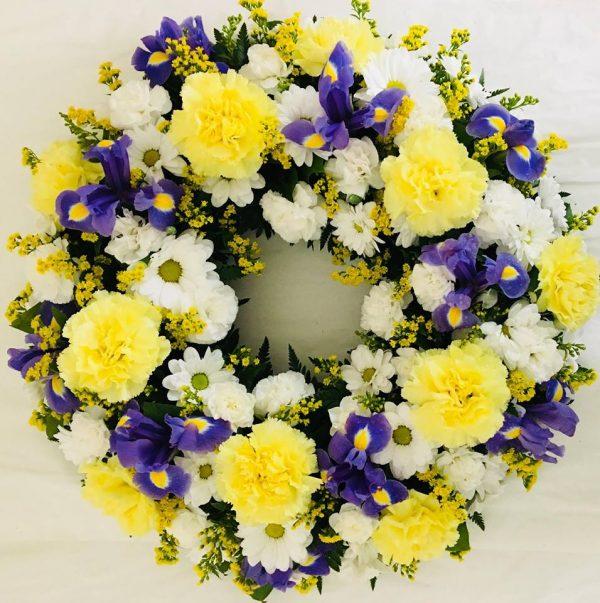 Classic Funeral Wreath - Yellow & Purple