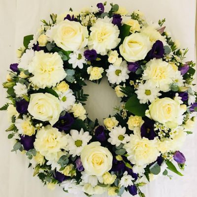 Classic Rose Funeral Wreath - Purple and Cream Carnations