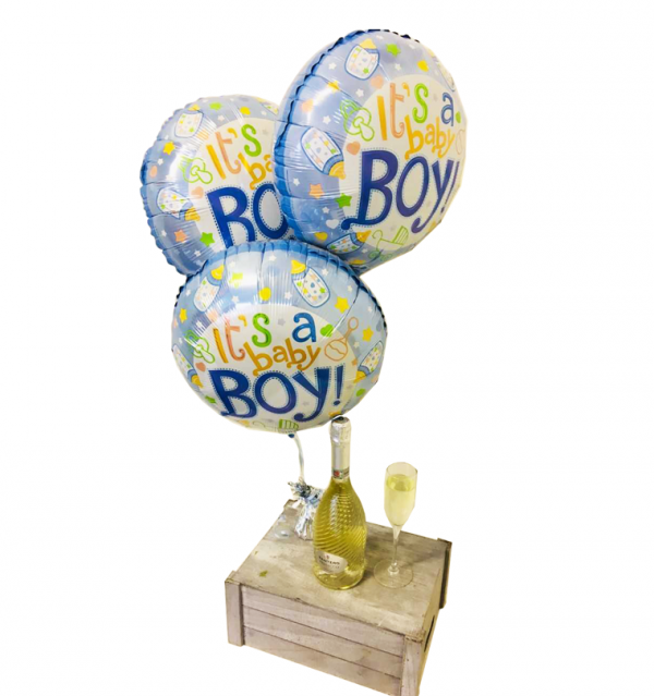 Baby Boy Balloons with White Prosecco