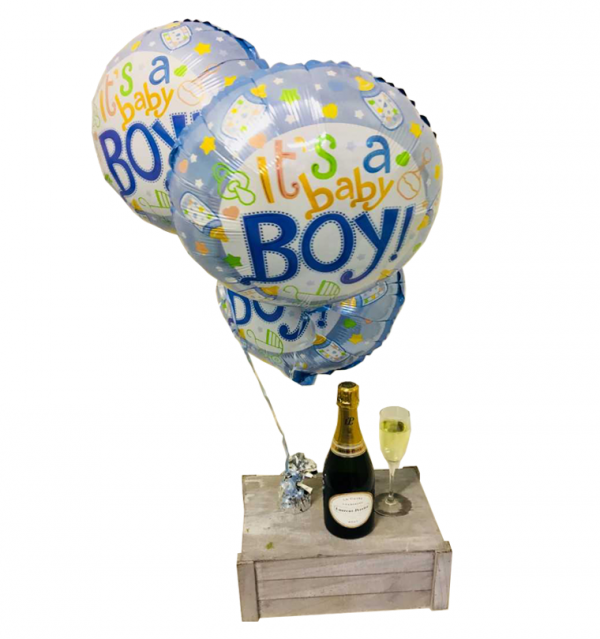 Baby Boy Balloons with Champagne