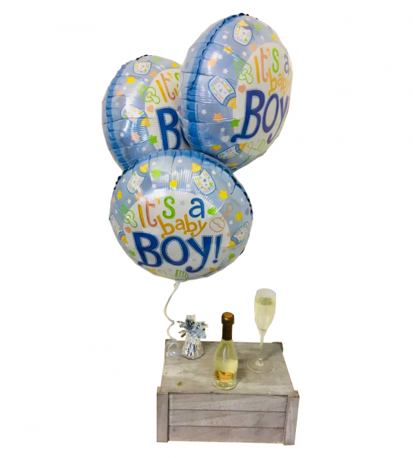 Baby Boy Balloons with Mini Prosecco