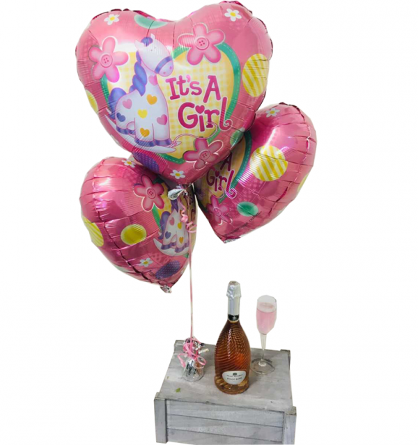 Baby Girl Balloons with Geisweiler Excellence Sparkling Rose Brut