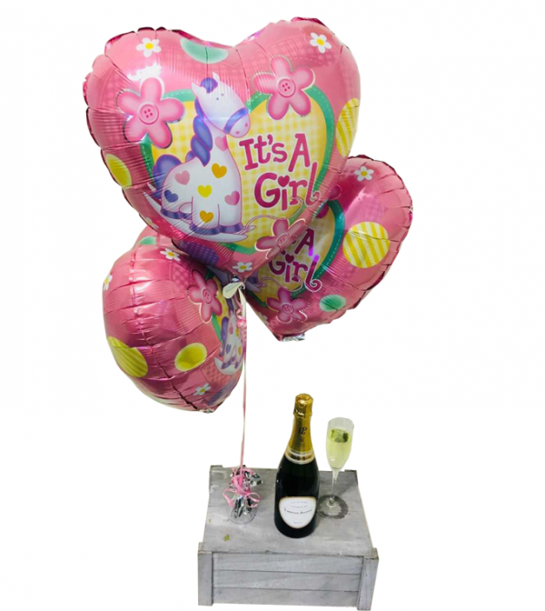 Baby Girl Balloons with Champagne