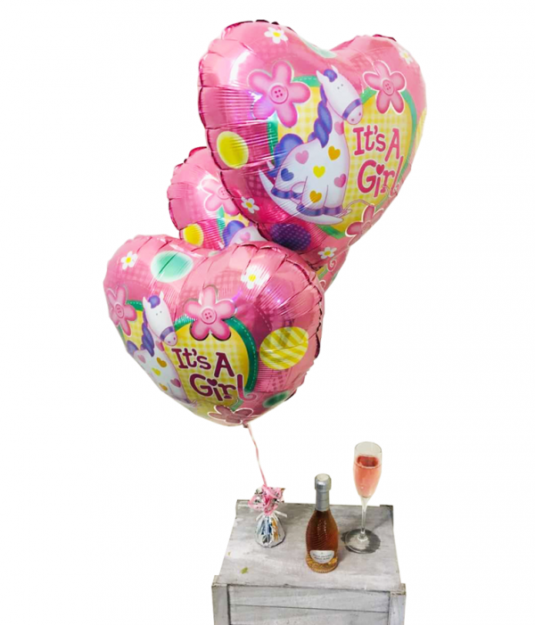 Baby Girl Balloons with Mini Rose Prosecco