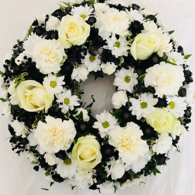 Classic Rose Funeral Wreath - White and Black