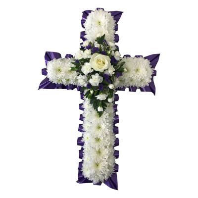 2 Foot Cross - Purple Flowers