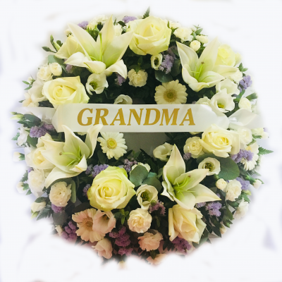 Grandma Rose and Lily Funeral Wreath - White and Lilac