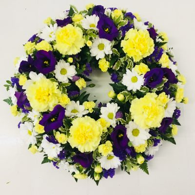 Classic Funeral Wreath - Purple, White and Yellow
