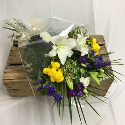 Purple & Yellow Funeral Flowers in Cellophane