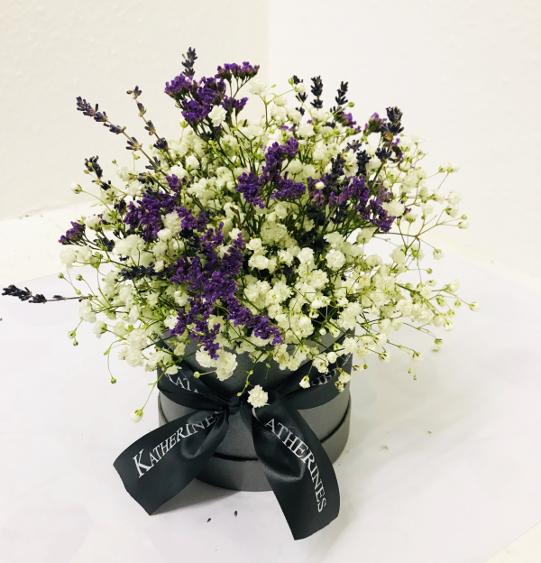 Lush Lavender Scented Flowers Hatbox