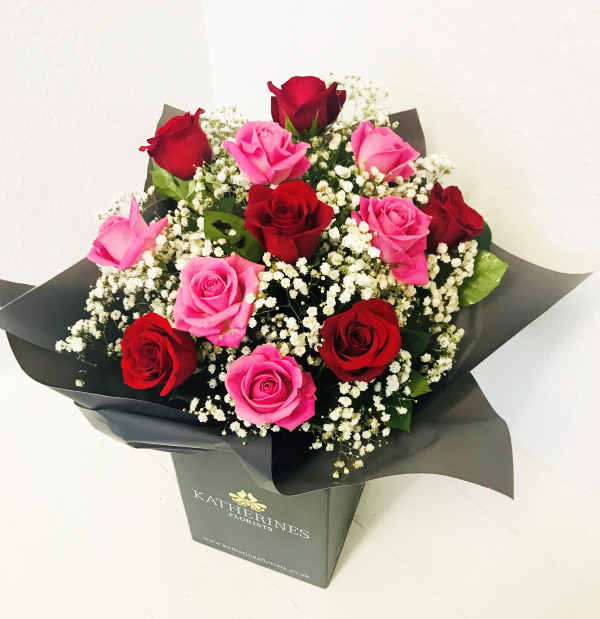 Luxury Large Headed Pink and Red Roses