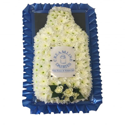 Milk Bottle Funeral Flowers