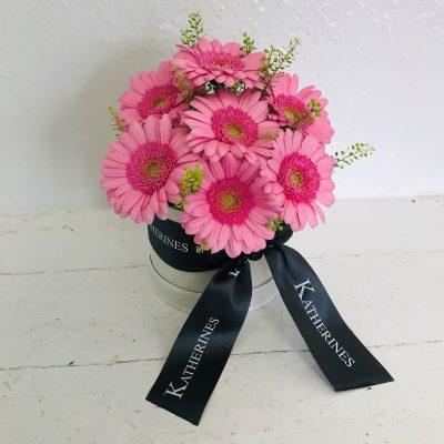 Pretty Pink Germini Flowers Hatbox