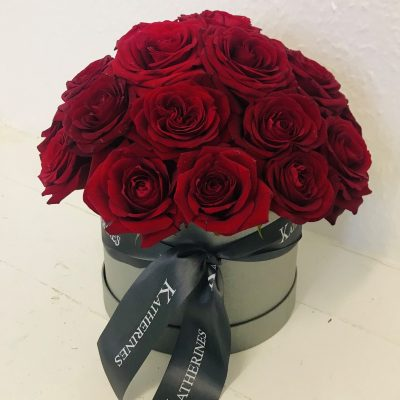 Ruby Red Flowers Hatbox