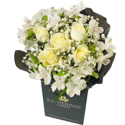 White Chic Roses and Alstroemeria Flowers Bouquet