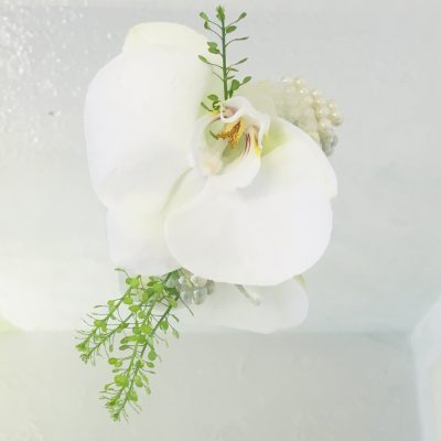 Pearl Wrist Corsage - Wonderful White Phalaenopsis Orchid