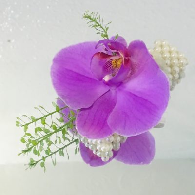 Pearl Wrist Corsage - Lovely Lilac Phalaenopsis Orchid
