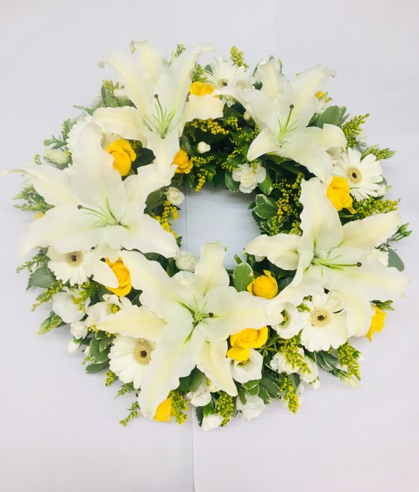 Rose and Lily Funeral Wreath - White & Yellow