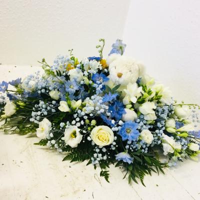 Children's Casket Spray with Teddy Bear - Blue Flowers