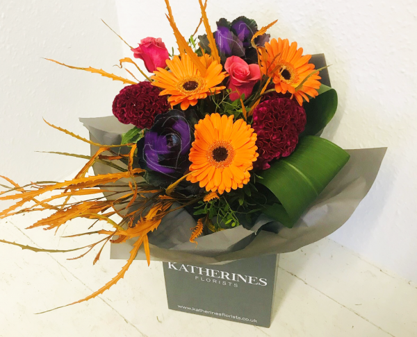 Beautiful Bonfire Hand Tie Flowers Bouquet