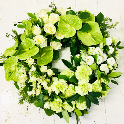 Green Anthurium Grouped Funeral Wreath