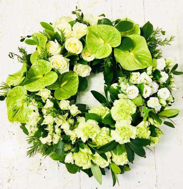 Green Anthurium Grouped Funeral Wreath