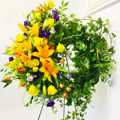 Bespoke Natural Vibrant Easel Funeral Wreath
