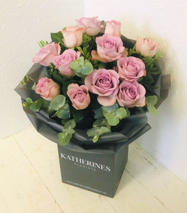 Luxury Large Headed Lilac Roses with Eucalyptus