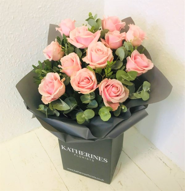 Luxury Large Headed Baby Pink Roses with Eucalyptus