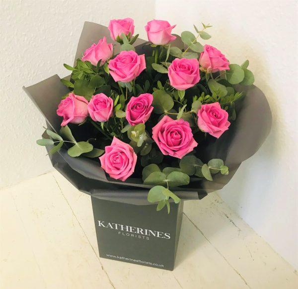 Luxury Large Headed Pink/White Roses with Eucalyptus