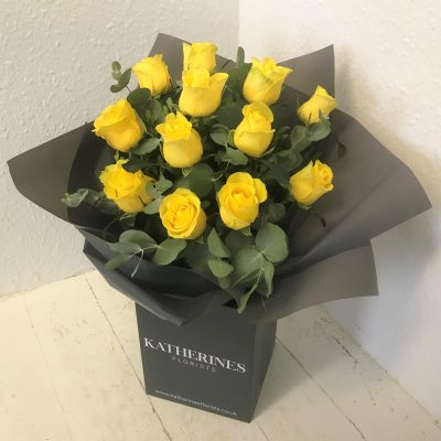Luxury Large Headed Yellow Roses with Eucalyptus