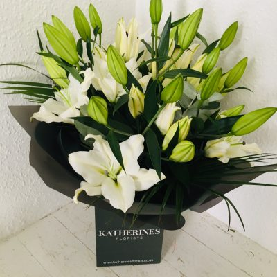 Elegant, White Lily Hand-Tie Flowers Bouquet