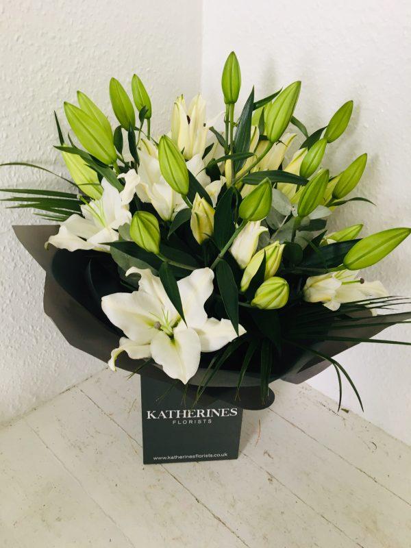 Elegant, White Lily Hand-Tie Flowers Bouquet