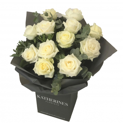Luxury Large Headed White Roses with Eucalyptus